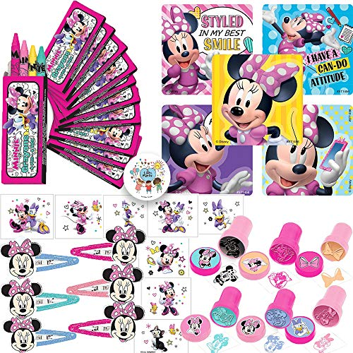 Minnie Mouse Happy Helper Party Favors Pack and Goodie Bag Fillers For 12 Guests With Minnie Mouse Crayons, Tattoos, Stampers, Stickers, Glitter Hair Clips, and Exclusive Pin By Another Dream!