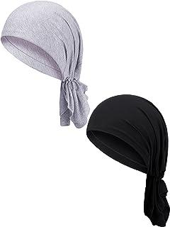 2 قطعة سهلة الارتداء قبل التعادل رئيس الأوشحة النساء أغطية الرأس عمامة قبعة رأس التفاف الحجاب للنساء الفتيات