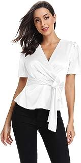 CROSS1946 Elegant V Neck T-Shirt Women Summer Peplum Tops for Women Tunic Silk Tie Knot Loose Fit Blouse Short Sleeve Tops
