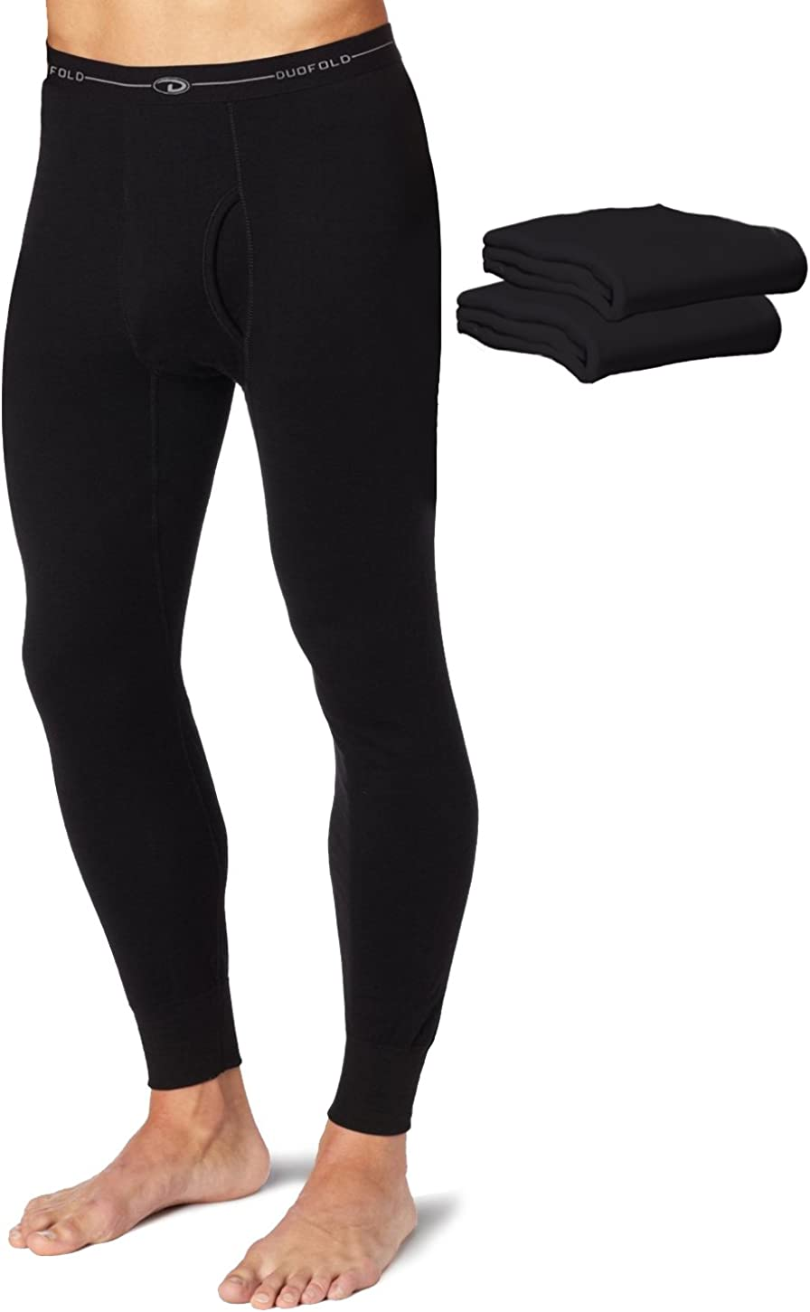 Duofold KMW2 Men's Mid Weight Wicking Thermal Pant Black (Pack of 3)