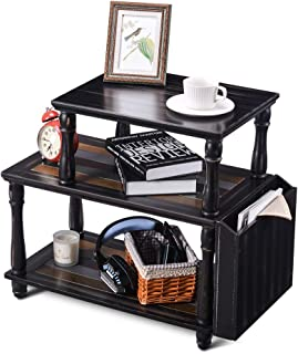 Rustic Side Table, Sunix 3 Tier Sofa End Table Corner Table with Solid Wood Legs, Side Storage Box for Living Room, Bedroom, Easy Assembly