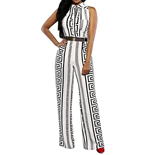 70c89bd00af4 Pink Queen Womens Button Up Printed Long Wide Leg Pant Party Jumpsuits with  Belt