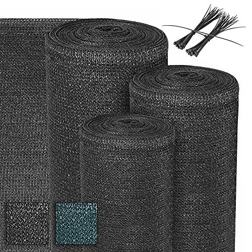 Sol Royal Schattiernetz 165 g/m² Schattiergewebe - Netz 2500x150cm Schattennetz Anthrazit Sonnenschutz HDPE inklusive Kabelbinder - Sichtschutz für Gewächshaus, Garten, Zaun und Balkon SG 80