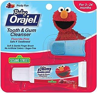 Orajel Baby Elmo 牙龈洁面乳,带手指刷,水果乐趣,0.7 盎司 0.7 ounces 0.7