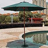 patio umbrella Parasol Déporté en Bois Parasol De Jardin Exterieur 2.7 m Professionnel pour Jardin Balcon Parasol De Plage Parasol De Marche/Plage/Mariage Et Piscine/Rouge/Vert/Blanc