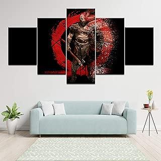 HSART Canvas Prints Painting Home Decorative Poster Split Parts 5 Panels/Set Game Kratos God of War Modular Wall Art Pictures,A,20x30x2+20x50x1+20x40x2