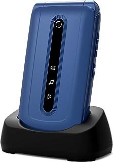 Ukuu 3G telefoon, draagbaar, voor senioren, met klapdeksel met grote toetsen, 2,4 inch (6,3 cm), groot display, SOS-knop, ...