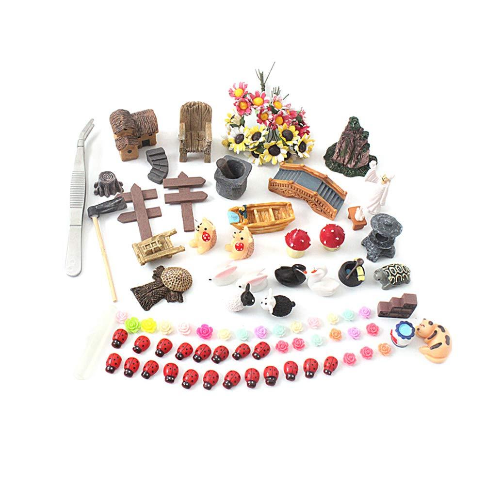 Yardwe - Kit de 99 adornos en miniatura para jardín estilo mediterráneo, kit de adornos en miniatura para bricolaje, decoración de jardín de hadas: Amazon.es: Jardín