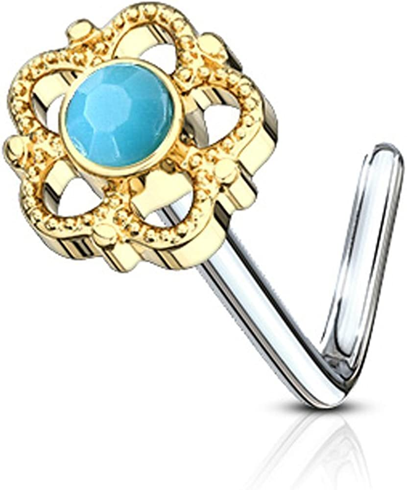 Covet Jewelry Flower Filigree Turquoise Center 316L Surgical Steel L Bend Nose Stud Rings
