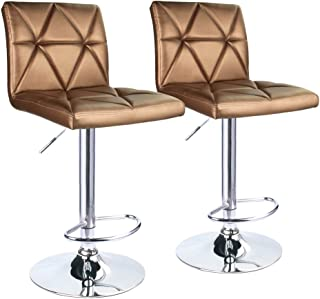 Leader Accessories Bar Stool, Hydraulic Square Back Diagonal Line Adjustable Bar Stools, Set of