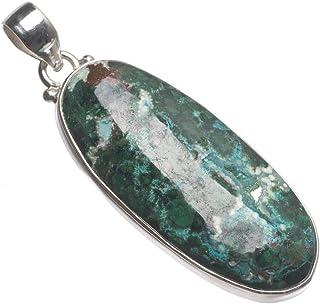 silver plated 16-18 Boss Feels Chrysocolla /& Garnet  Necklace