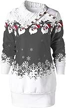 Sanyyanlsy Women's Christmas Santa Claus Snowflake Printed Pullover Winter Long Sleeves Cowl Neck Tunic Long Sweatshirt