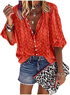 neveraway Women's Plus Size Single Breasted Floral Print Puff Sleeve Blouse