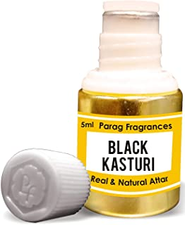 Black Kasturi Attar - Fragancias para hombre 5 ml (Alcohol Free Long Lasting Attar for Men or Religious Use)
