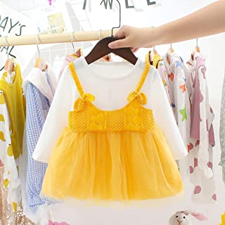 Accreate Girls Princess Dress Toddler Infant  Two-Piece Dress of Long Sleeves Sweater Stitching Mesh Dress Yellow 100cm