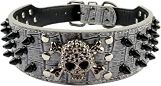 Beirui Spiked Leather Dog Collar - 3 Rows Bullet Rivets Studded PU Leather - Cool Skull Pet Accessories Best Choice for Medium and Large Dogs