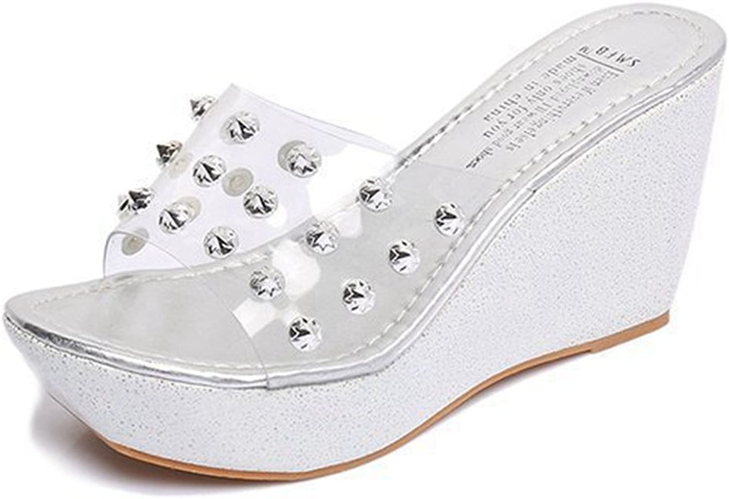 CYBLING Women Wedges Slides Sandals Bling Sequined Summer Outdoor Open Toe Slippers