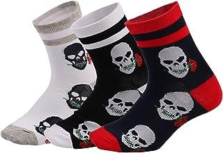 3 Pares De Calcetines De Algodón Casual Skeleton Head Novedad Calcetines Calcetines De Tripulación Para Halloween