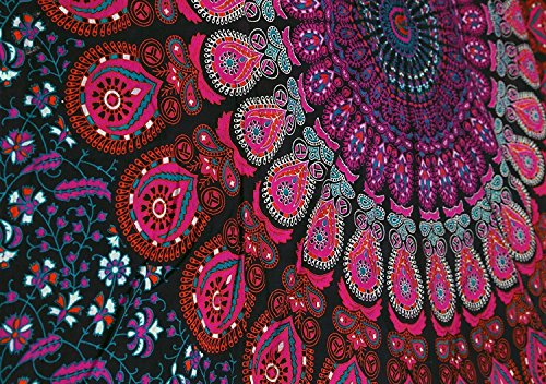 Craftozone Multi-Colored Mandala Tapestry Indian Wall Hanging, Bedsheet (Pink, 220x140 cms)