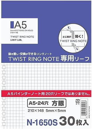 リヒトラブ ツイストリングノート専用リーフ A5 24穴 方眼 1組=30枚入り N1650S
