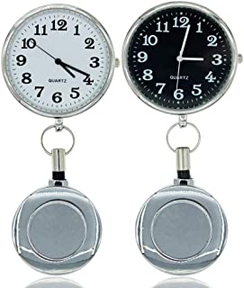 Paramedic Retractable Fob Watch for Nurses and Doctors,Battery Inside,Unique Shining Metal Cover, Infection Design Fob Watch for Women and Men,Retractable Clip on Design