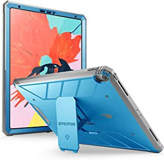iPad Pro 12.9 inch 2018 Kickstand Rugged Case, Poetic Revolution Full-Body Heavy Duty Case, Built-in-Screen Protector, Not Support Apple Pencil Magnetic Attachment, for Apple iPad Pro 12.9 2018, Blue