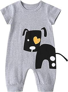 ForMitanss Baby Unsex Strampler,Kurzarm Grau Baby Body Cartoon Welpe Jumpsuit Overall Outfit für 3-24 Monate Baby Jungen Mädchen