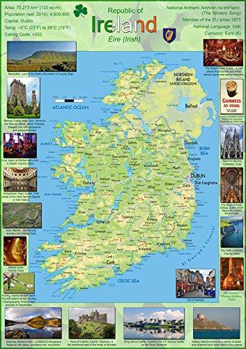 Poster, Karte Irland, Papier, laminiert a1 farblos