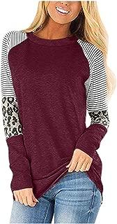 Striped Raglan Shirt Color Block Long Sleeve Loose Fit Pullover Sweatshirts Tunics Tops Blouse