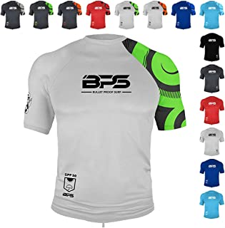 BPS Men's UPF 50+ Short Sleeve and Long Sleeve Swim Shirt/Rash Guard with Sun Protection