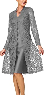 DHS Mother Of The Bride Dress Short Evening Party Dress Lace Jacket Two Pieces