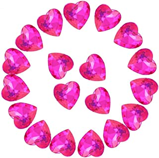 Crystal Rhinestones 50pcs AB Crystals Pointback Heart Glass Rhinestone for DIY Crafts Jewelry Making,12mm,Rose Red