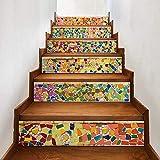 6 Stück 3D Treppenaufkleber - Kreative selbstklebende Treppe Schritt Bodenfliesen Aufkleber Wandtattoo Wallpaper (Style 3)