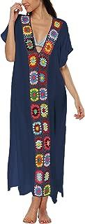 Lu's Chic Women's Swimsuit Cover Up V Neck Crochet Soft Turkish Print Long Beach Dress