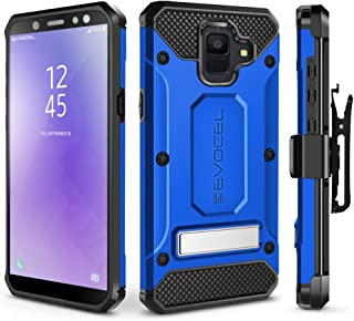Evocel Galaxy A6 (2018) Case, [Explorer Series Pro] Premium Full Body Case with Glass Screen Protector, Belt Clip Holster, Metal Kickstand for Samsung Galaxy A6 (2018), Blue