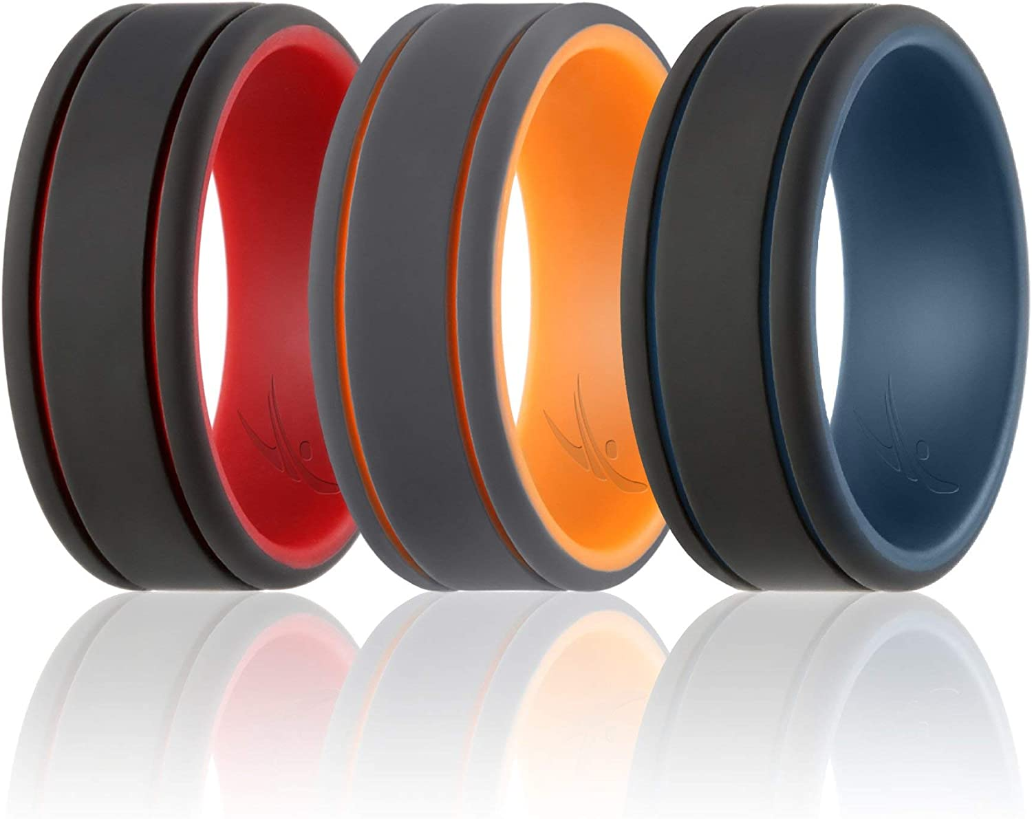 Classic Style Silicone Rubber Wedding Bands Duo Collection ROQ Silicone Wedding Ring for Men