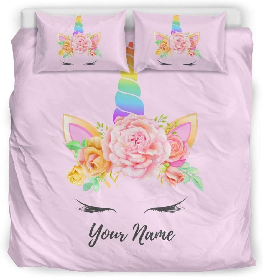 freedomlook National products Personalized 5 ☆ popular Unicorn Bedding Duvet Cover an Kids for