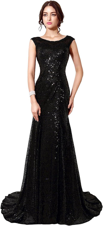 Belle House Black Sequins Sheer Neck Prom Dress 2018 Long Mermaid Evening Dress Formal for Women