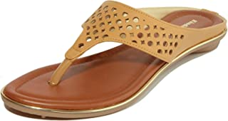 Khadim's Laser-Cut Fashion Slippers for Women, Durable & Water Resistant (Tan/Beige)