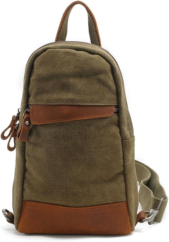Sling Bag, Simple Retro Zipper Canvas Chest Shoulder Bag Messenger Bag for Bicycle Sport Hiking Travel Bookbag (color   Army Green)