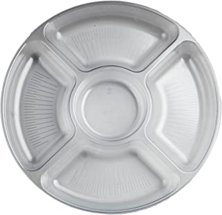 Party Essentials N12521 Round 5 Sectional Tray, 12-inch, Clear (Case of 12)