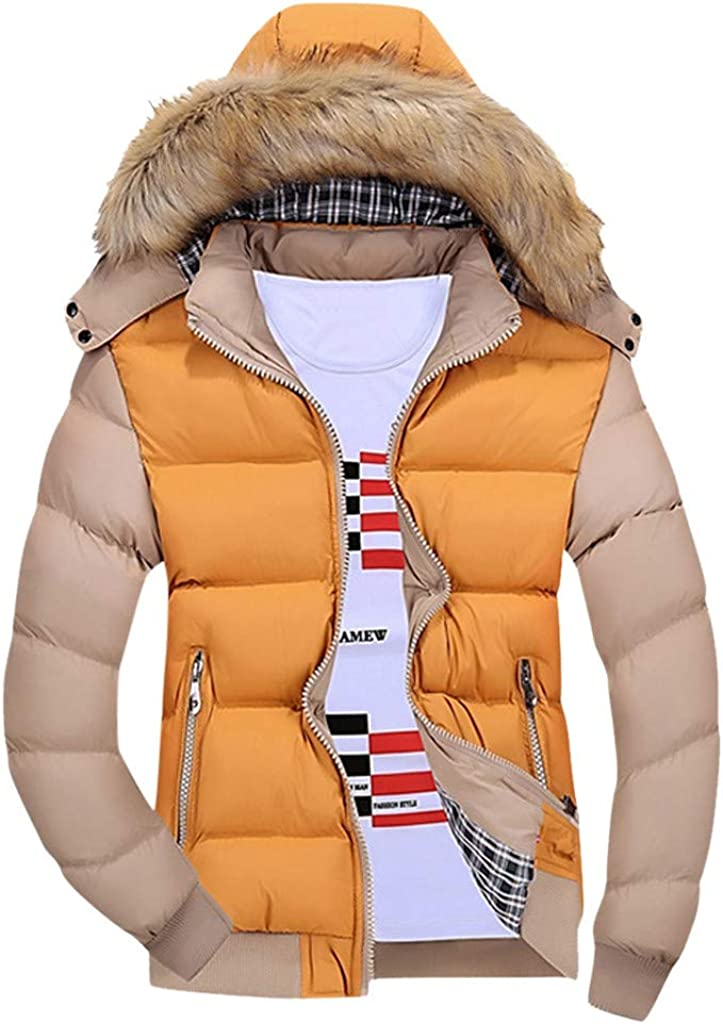 Faux Fur Hooded Down Jacket Men - NRUTUP Zipped Down Jacket, Winter Warm Colour Block Down Jacket, Sports Outdoor