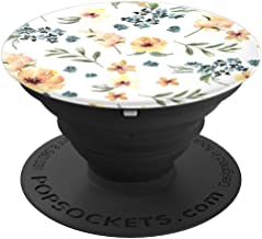 Yellow Blue Floral Flowers Pattern  PopSockets Grip and Stand for Phones and Tablets