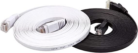 Cat 6 Ethernet Cable 15ft Flat (at a Cat5e Price but Higher Bandwidth) Internet Network Cable - Cat6 Ethernet Patch Cables Short - Computer LAN Cable with Snagless RJ45 Connectors (Black and White)