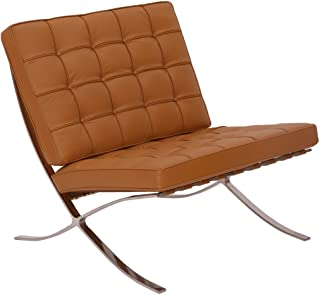 Modern Souces - Pavilion Barcelona Style Chair Replica Premium Leather Light Brown