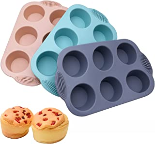 Silicone 6 Cup Texas Size Muffin Pan, Set of 3 Large Silicone Cupcake Baking Pan, EU-Level Non-Stick Egg Muffin Molds, BPA...