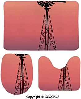 SCOCICI Three-Piece Toilet Seat Pad Custom Windmill Silhouette at Dreamlike Sunset Western Ranch Agriculture Fashion Bathroom Rug Mats Set Bath Mat + Contour + Toilet Lid Cover