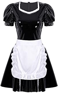 QinCiao Women's PVC Leather French Apron Maid Costume Cosplay Lingerie Dress Teddy