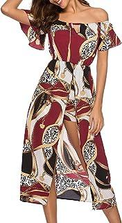 9a80a02757 Sunhusing Ladies Bohemian Ethnic Print Off-Shoulder Short Sleeve Trumpet  Sleeve Beach Dress Waist Maxi