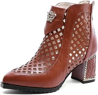 BalaMasa Womens Plaid High-Heel Fabric Leather Boots ABM13629